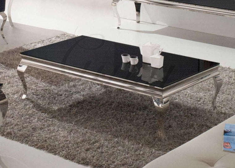 Louis 130cm Black Tempered Glass Coffee Table
