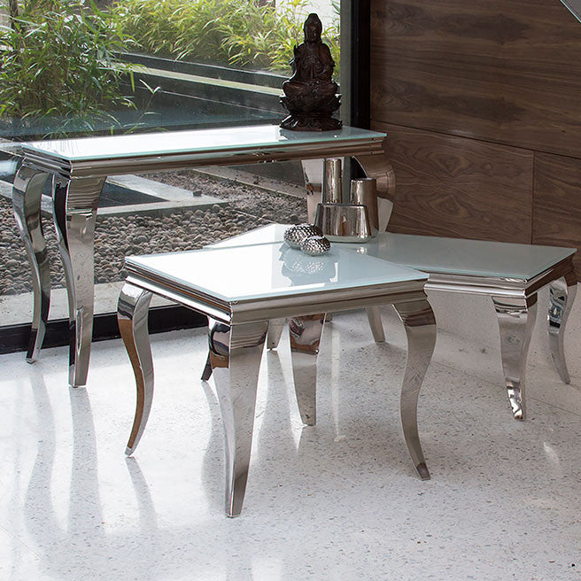 Louis 120cm White Tempered Glass Coffee Table - ImagineX Furniture & Interiors