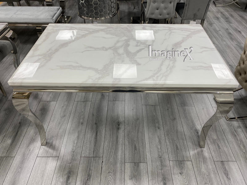 Louis 160cm Grey Marble Dining Table + Lion Knocker Plush Velvet Chairs + Bench