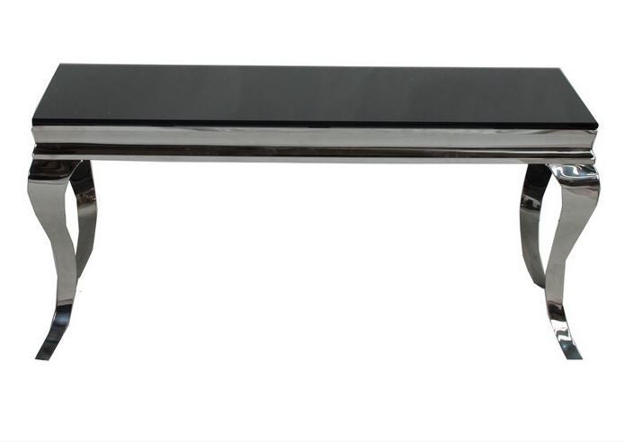 Louis 110cm Black Tempered Glass Coffee Table - ImagineX Furniture & Interiors