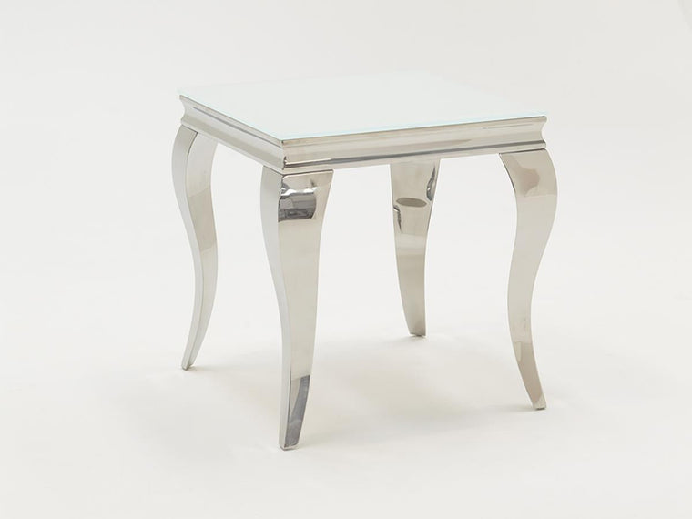 Louis White Tempered Glass End Table