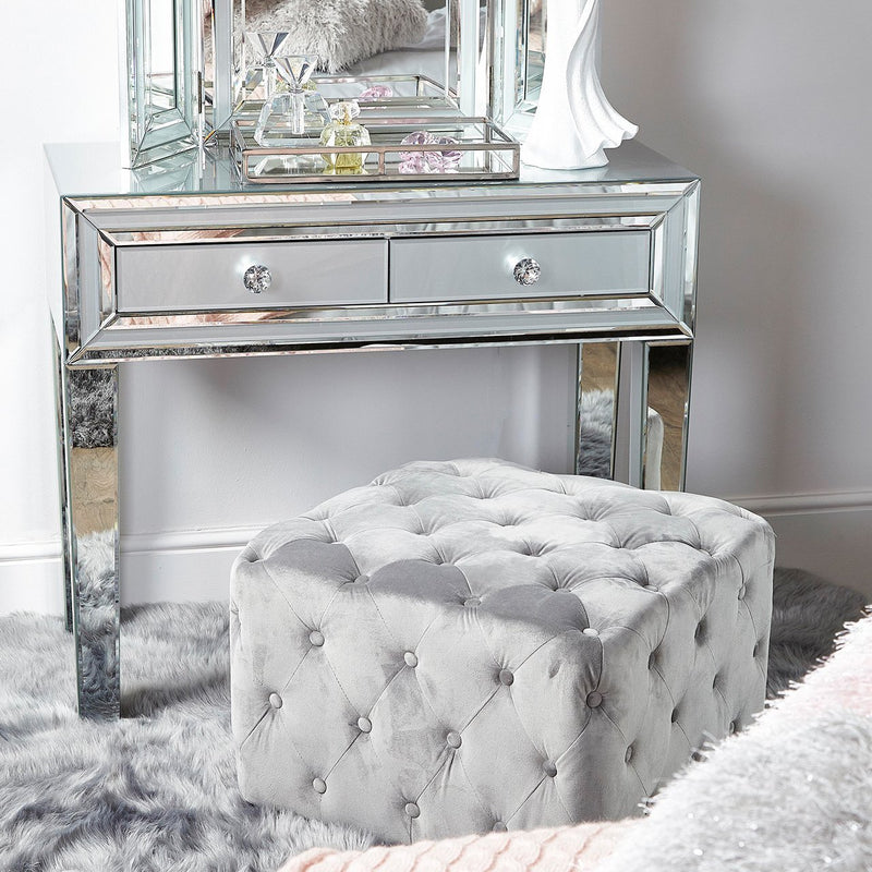 Plush Velvet Square Pouffe Stool with Tufted Buttons - Silver Grey - Modern Home Interiors