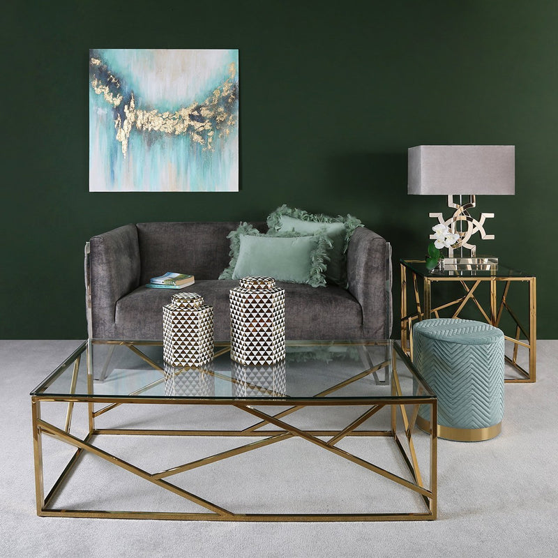 Round Velvet Stool with Chevron Stitching - Mint Green & Gold - Modern Home Interiors