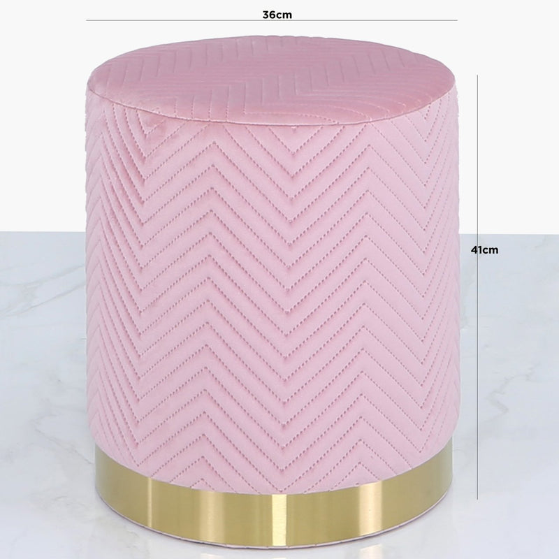 Round Velvet Stool with Chevron Stitching - Pink & Gold - Modern Home Interiors