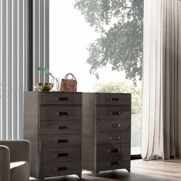 Maia Silver Birch High Gloss 6 Drawer Tall Boy Chest