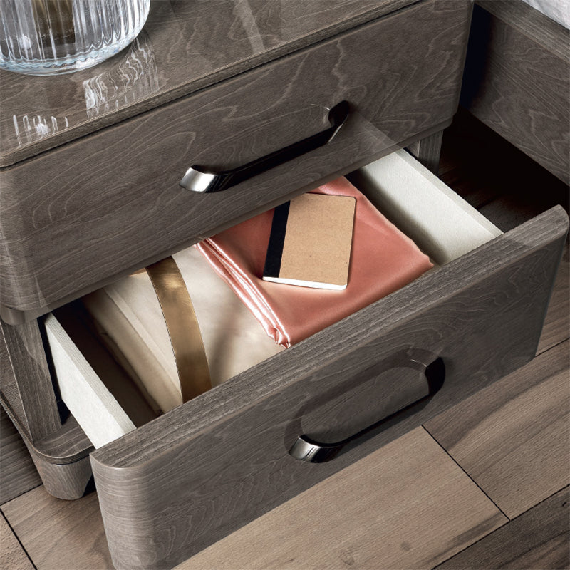 Maia Silver Birch High Gloss 2 Drawer Mini Bedside Table - ImagineX Furniture & Interiors
