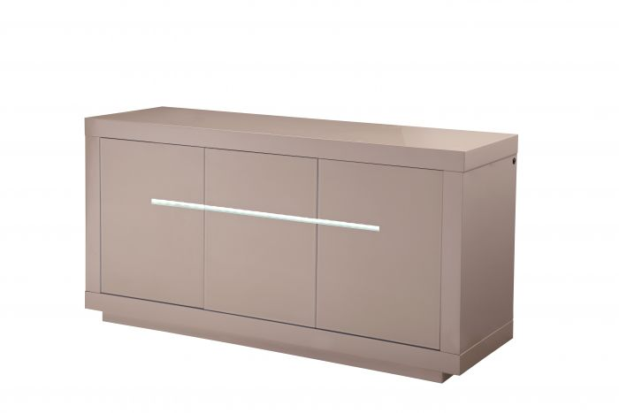 Monte Carlo 3 Door High Gloss Sideboard With LED Cream - 155cm