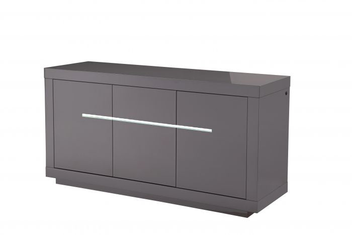 Monte Carlo 3 Door High Gloss Sideboard With LED Grey - 155cm