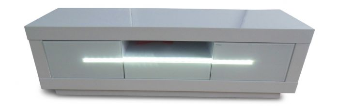 Monte Carlo White High Gloss Entertainment Unit With LED - ImagineX Furniture & Interiors