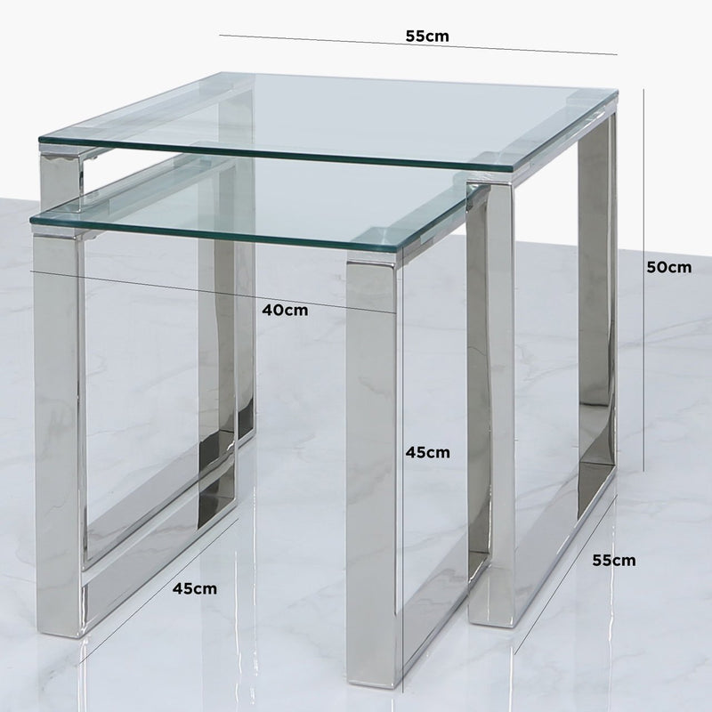 Lana Nest of 2 End Side Tables - Chrome - Modern Home Interiors
