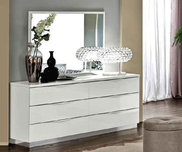Onda White High Gloss Italian 6 Drawer Double Dresser