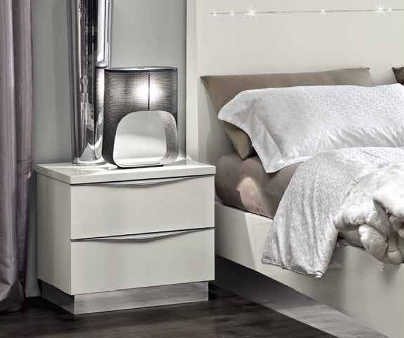 Onda White High Gloss Italian Mini Night Table - ImagineX Furniture & Interiors