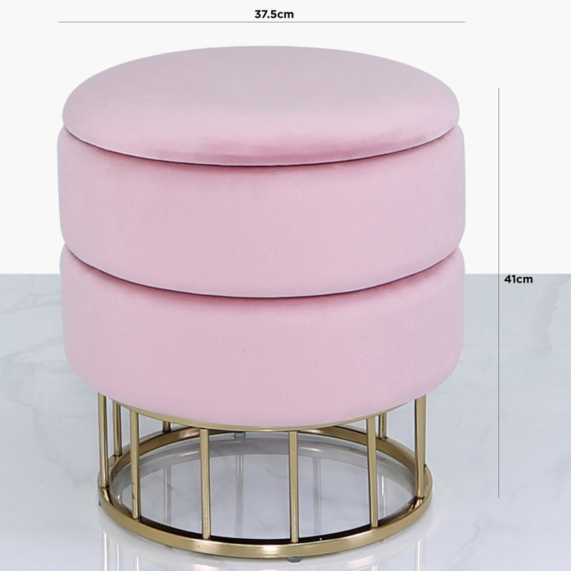 Velvet Finish Storage Ottoman Stool with Metal Base - Pink - Modern Home Interiors