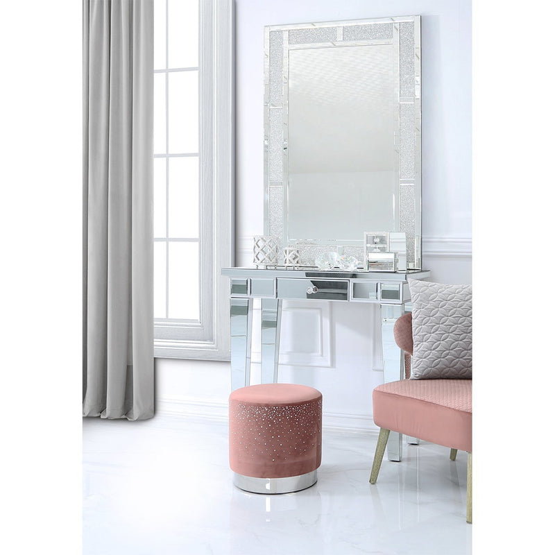 Round Velvet Stool With Sparkling Diamantes - Pink - Modern Home Interiors