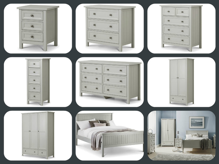 Julian Bowen Maine New England Shaker Style Full Bedroom Set in Dove Grey