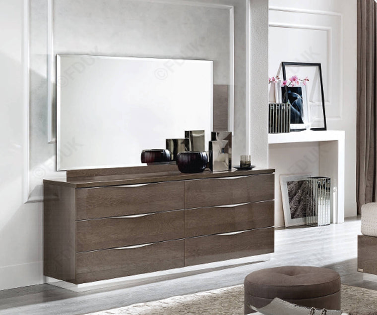 Platinum Night 173cm 6 Drawer High Gloss Double Dresser