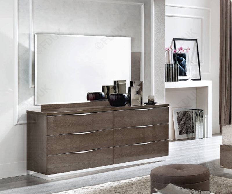 Platinum Night 173cm 6 Drawer High Gloss Double Dresser - ImagineX Furniture & Interiors