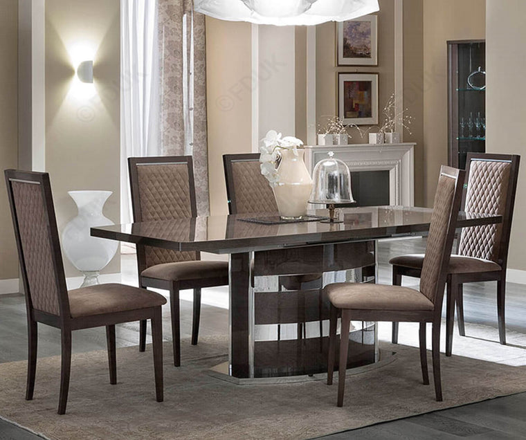 Platinum Day Silver Birch High Gloss 160-205cm Ext Dining Table + 6 Chairs Set