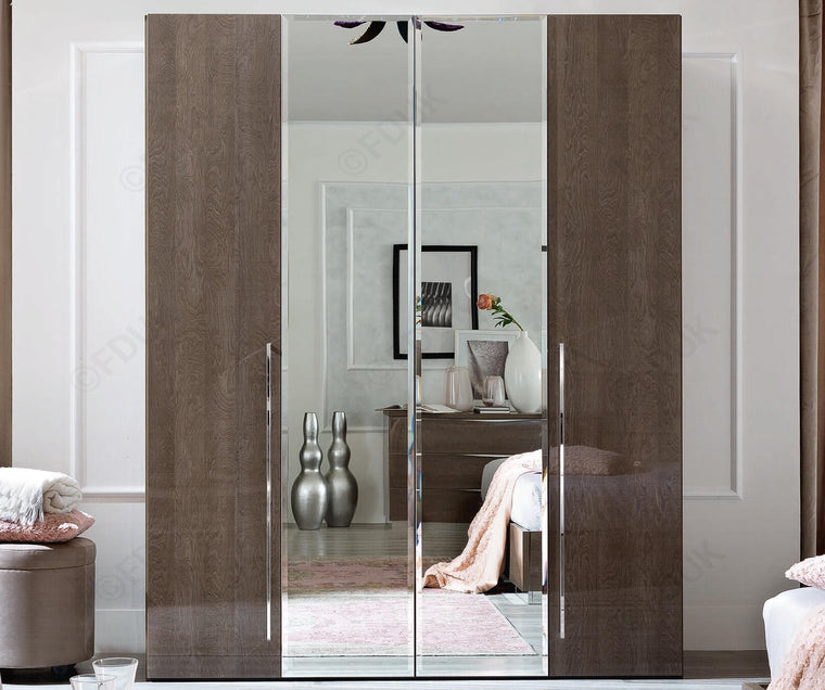 Platinum Night High Gloss 4 Door Mirror Wardrobe