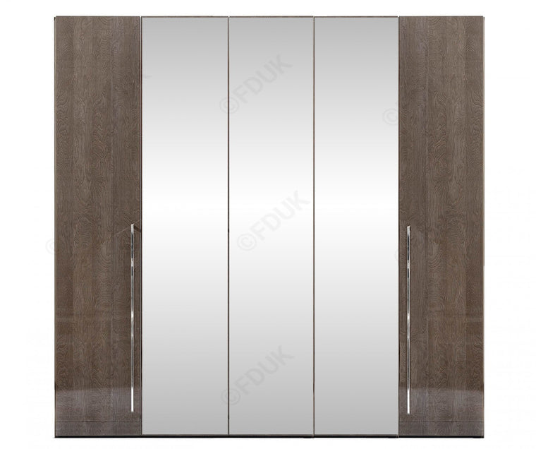 Platinum Night High Gloss 5 Door Mirror Wardrobe