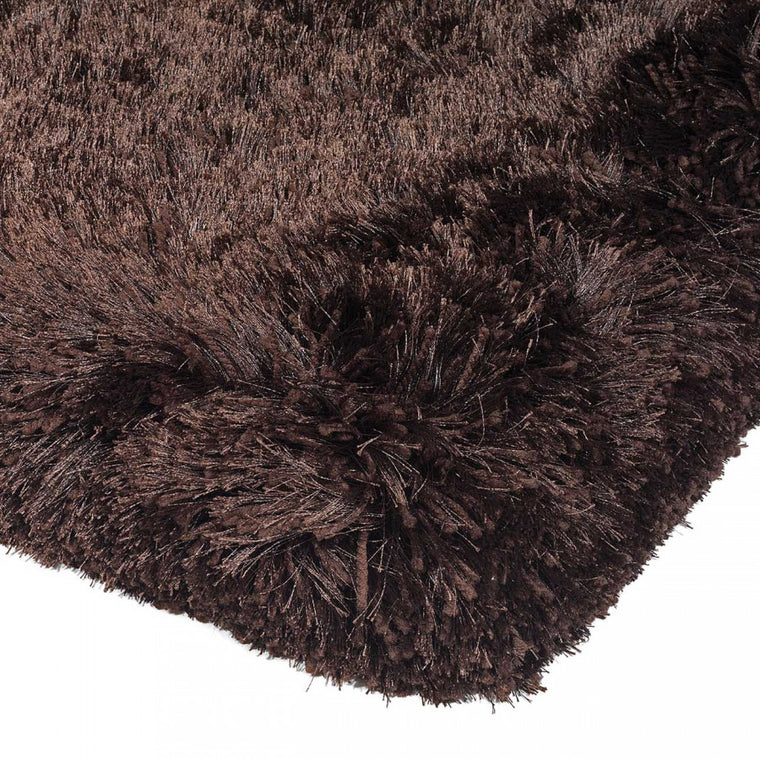 Plush Dark Chocolate Luxury Shaggy Polyester Rug by Asiatic
