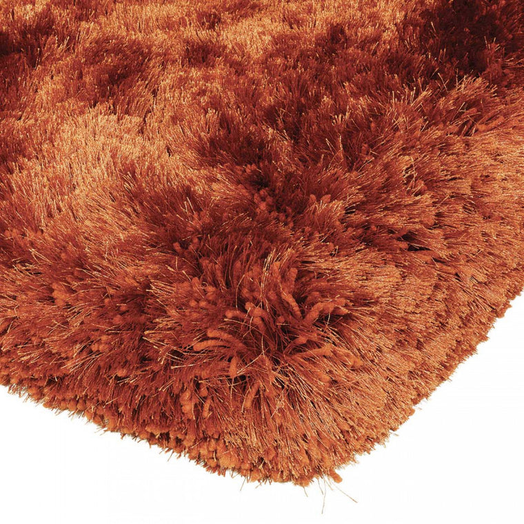 Plush Rust Luxury Shaggy Polyester Rug by Asiatic