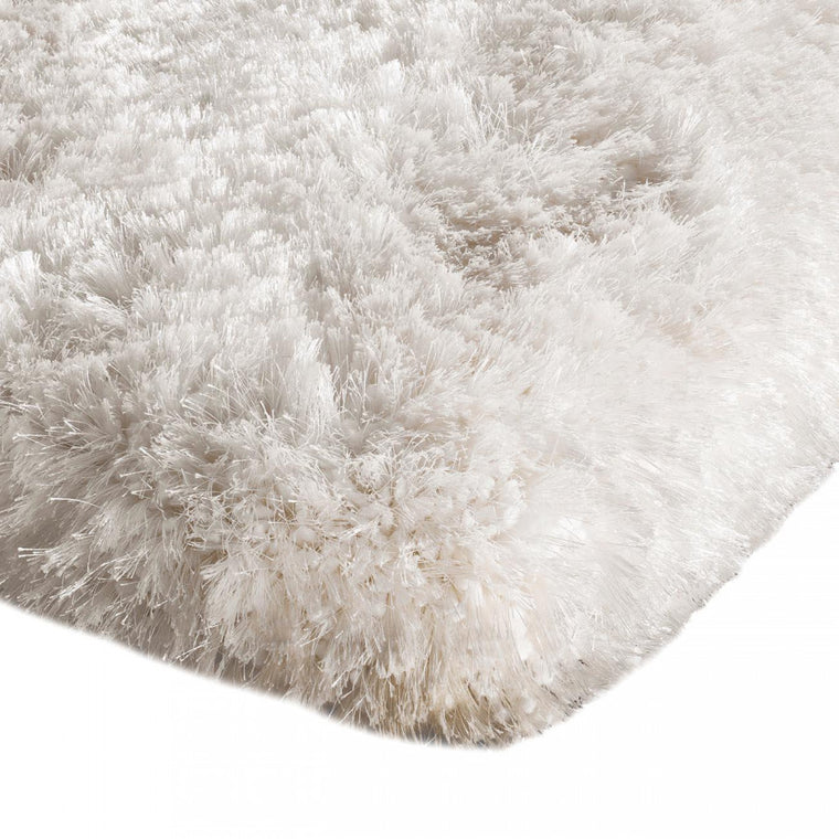 Plush White Luxury Shaggy Polyester Rug by Asiatic