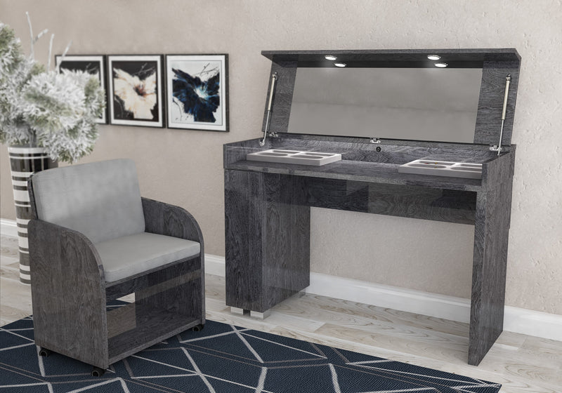 Sarah Grey Birch Italian Vanity Dressing Table + Chair - ImagineX Furniture & Interiors