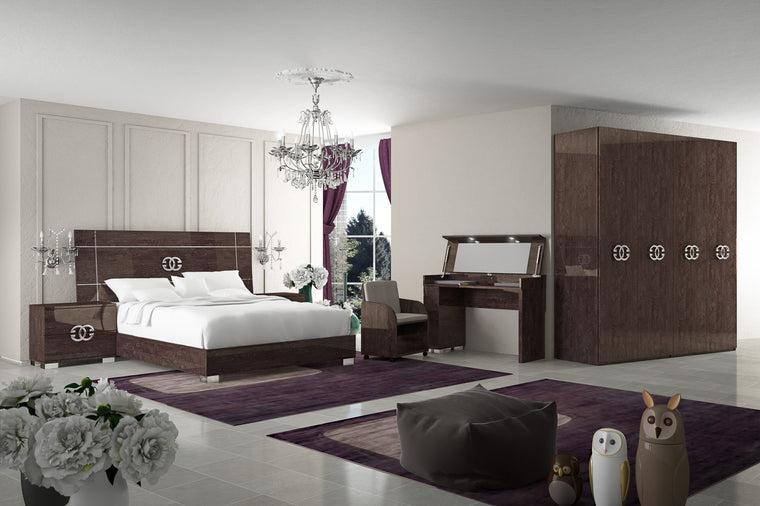 Prestige Umber Birch High Gloss Italian Full Bedroom Set