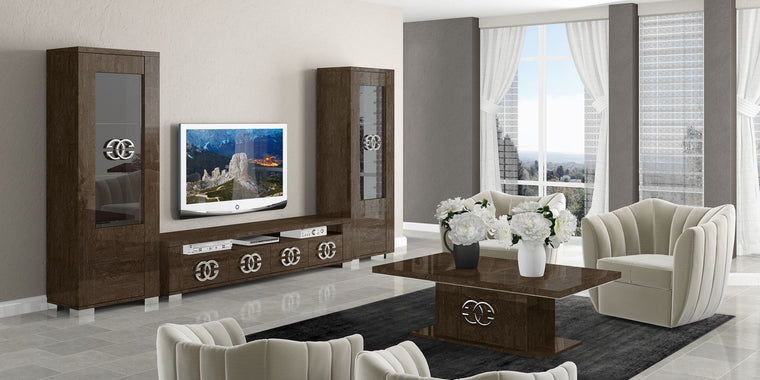 Prestige Umber Birch High Gloss Italian Modern TV and Media Package 2