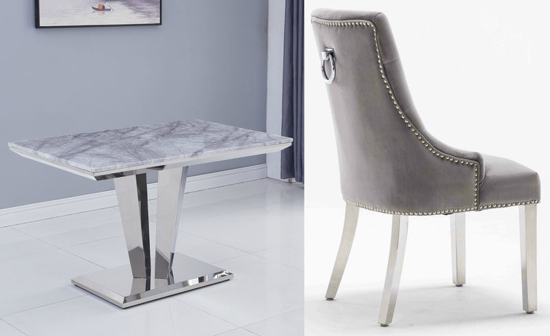 Riccardo Grey Marble 120cm Dining Table + Knightsbrige Plush Velvet Chairs - ImagineX Furniture & Interiors