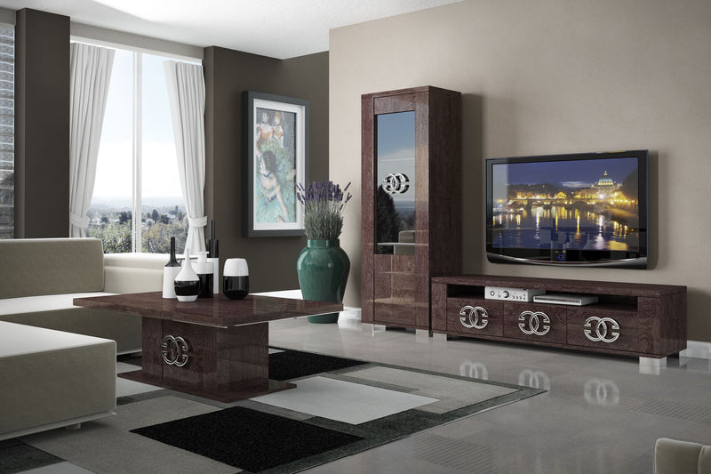 Prestige Umber Birch High Gloss Italian 1 Door Display Cabinet - ImagineX Furniture & Interiors