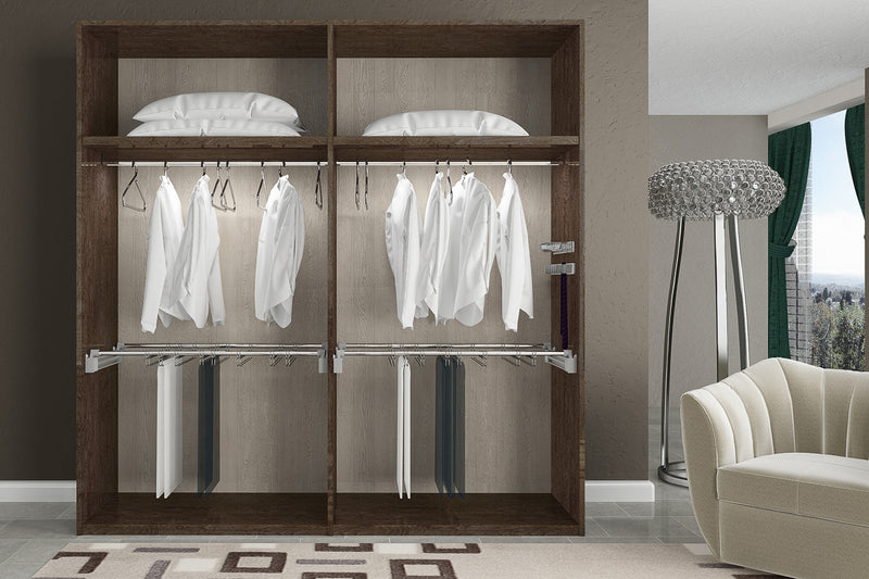 Prestige Umber Birch High Gloss Italian 4 Door Wardrobe - ImagineX Furniture & Interiors
