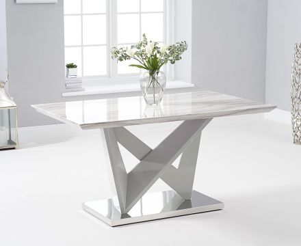 Rosario 150cm Rectangular High Gloss Light Grey Dining Table - ImagineX Furniture & Interiors