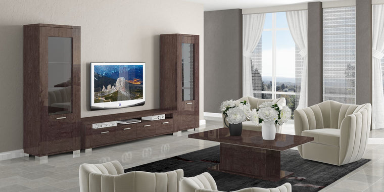 Prestige Umber Birch High Gloss Italian Modern TV and Media Package 1