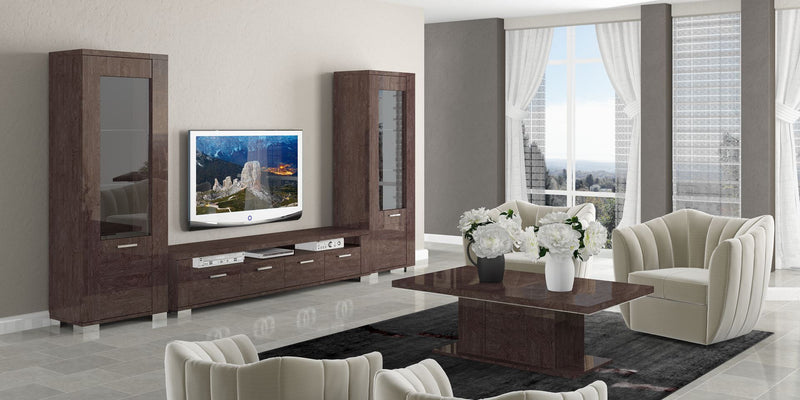 Prestige Umber Birch High Gloss  Italian 4 Door TV Unit - ImagineX Furniture & Interiors