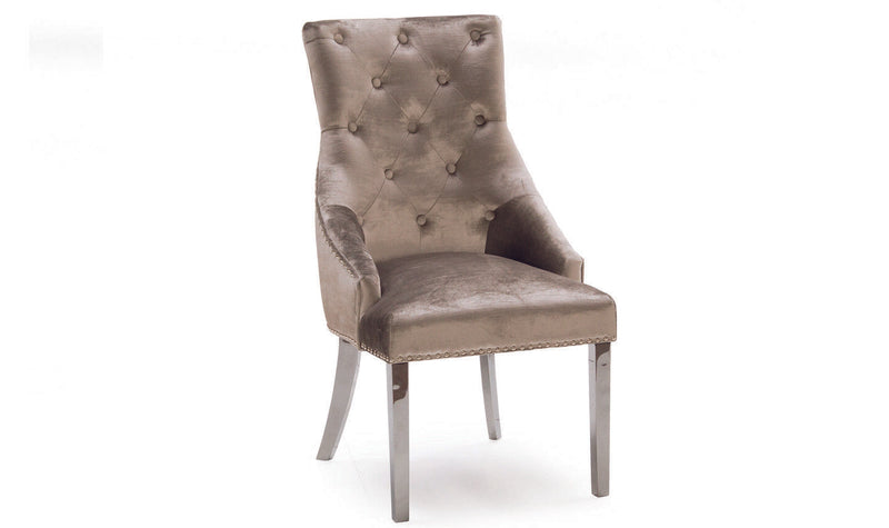 Belle Champagne Knockerback Soft Velvet Dining Chair - ImagineX Furniture & Interiors