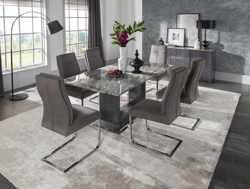 Donatella 160cm Grey Marble Dining Table + Dining Chairs - ImagineX Furniture & Interiors