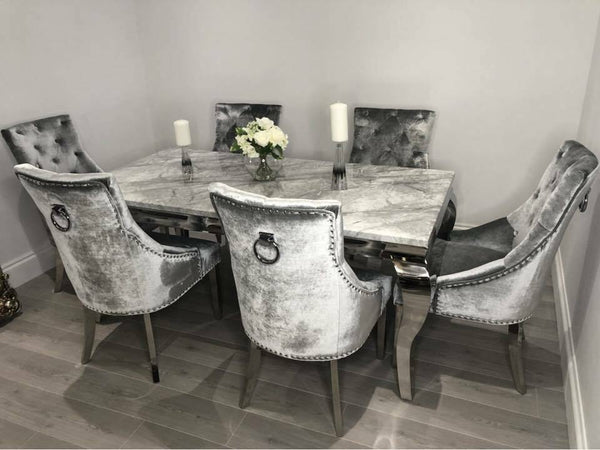 Louis 180cm Grey Marble Dining Table + Belle Plush Velvet Chairs