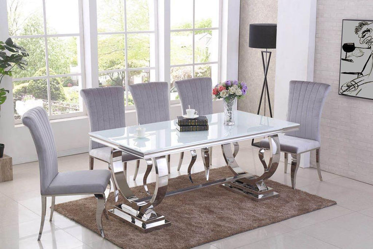 Rani White Glass & Chrome `O` 180cm Dining Table + Renee Velvet Chairs