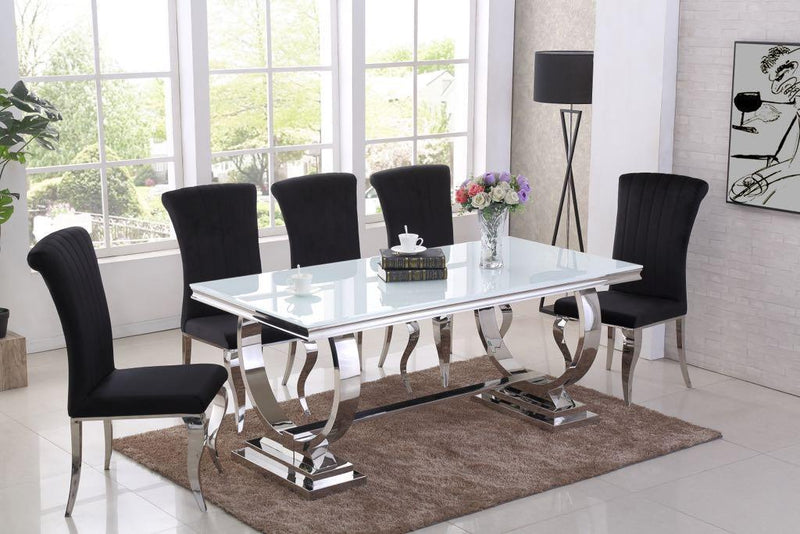 Rani White Glass & Chrome `O` 180cm Dining Table + Renee Velvet Chairs - ImagineX Furniture & Interiors