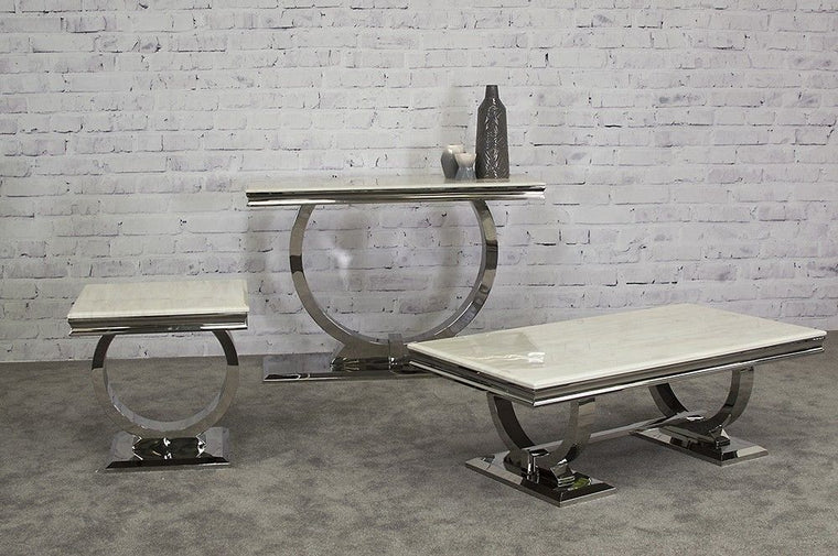Arianna Marble & Chrome `O` Coffee Table