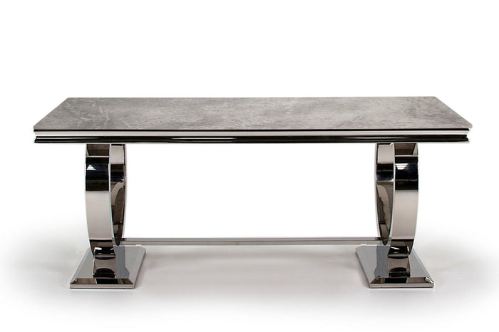 Arianna 200cm Grey Marble & Chrome `O` Dining Table + 4 Belle Pewter Velvet Chairs - ImagineX Furniture & Interiors
