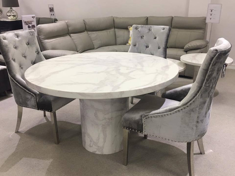 Carra Bone White Marble Medium Round 130cm Dining Table + Belle Dining Chairs
