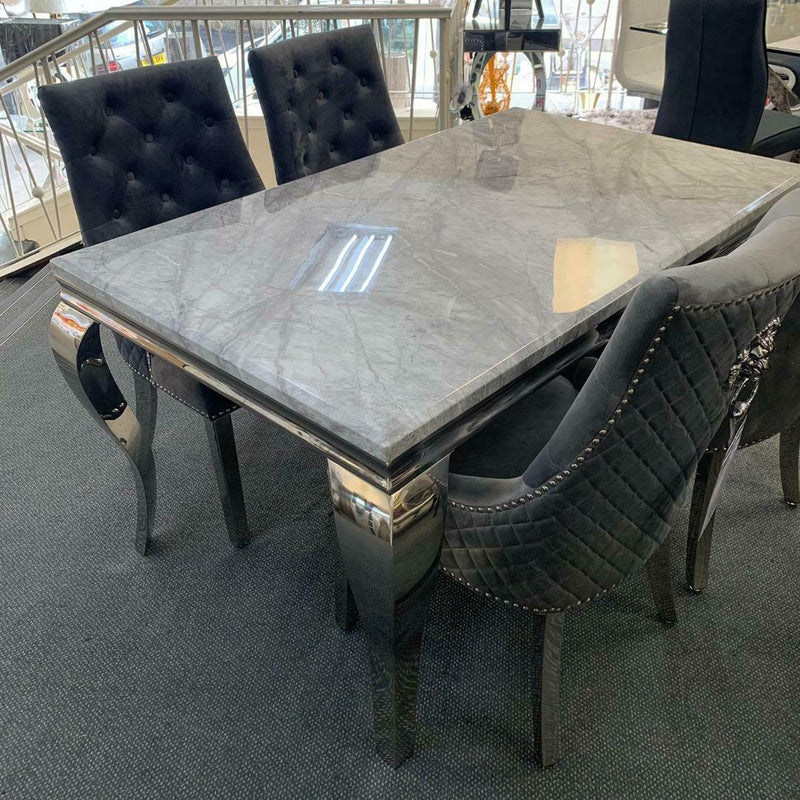 Louis 150cm Grey Marble Dining Table + Silver Lion Knocker Plush Velvet Chairs - ImagineX Furniture & Interiors