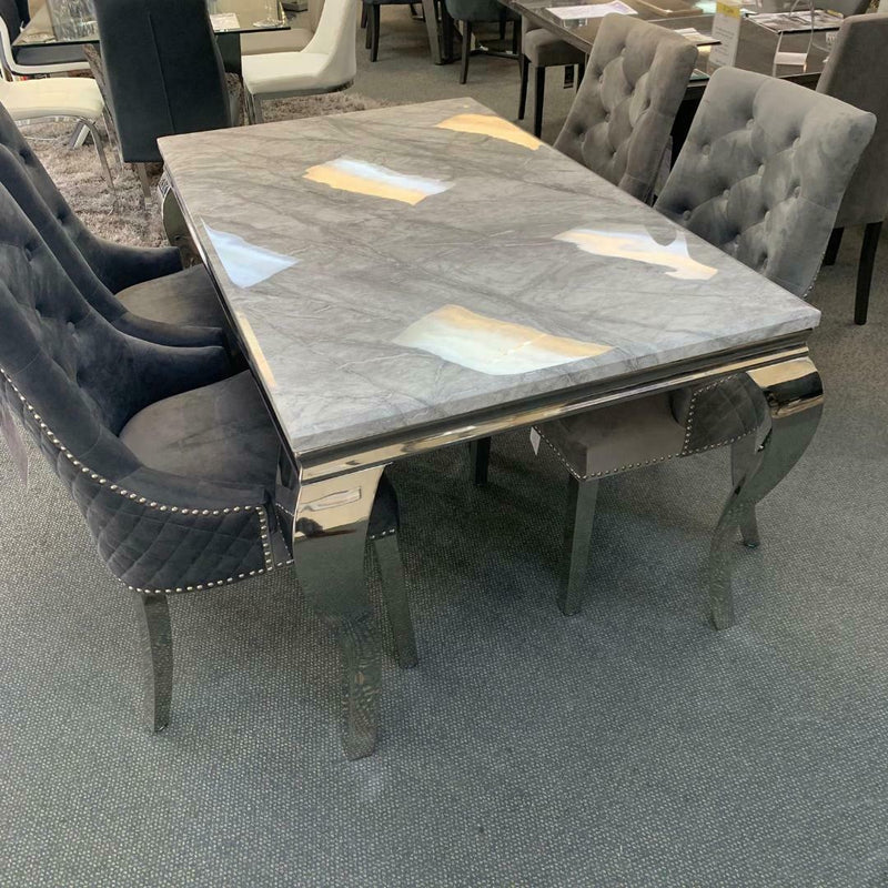 Louis 140cm White Marble Dining Table + Grey Lion Knocker Plush Velvet Chairs - ImagineX Furniture & Interiors