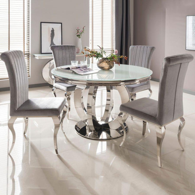 Ohio 130cm Round Dining Table + 4 Belle Pewter Dining Chairs