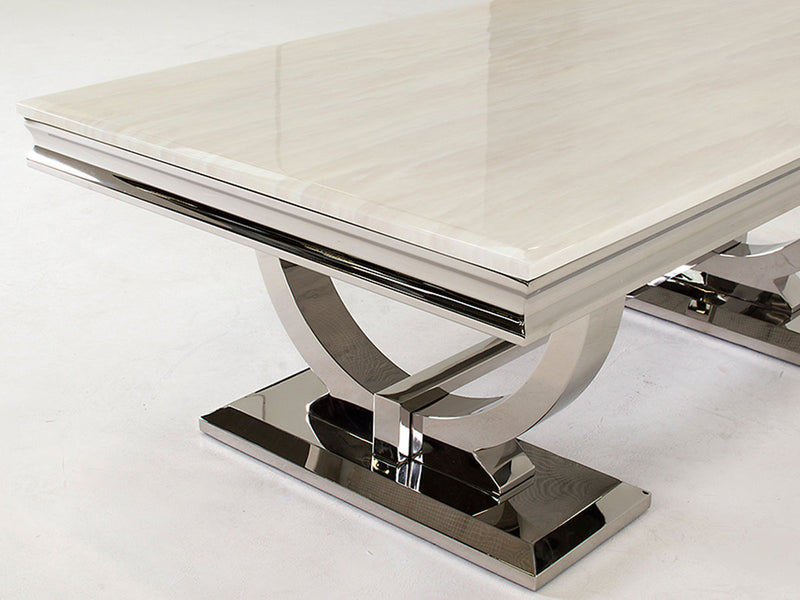 Arianna 130cm Cream Marble & Chrome `O` Coffee Table - ImagineX Furniture & Interiors