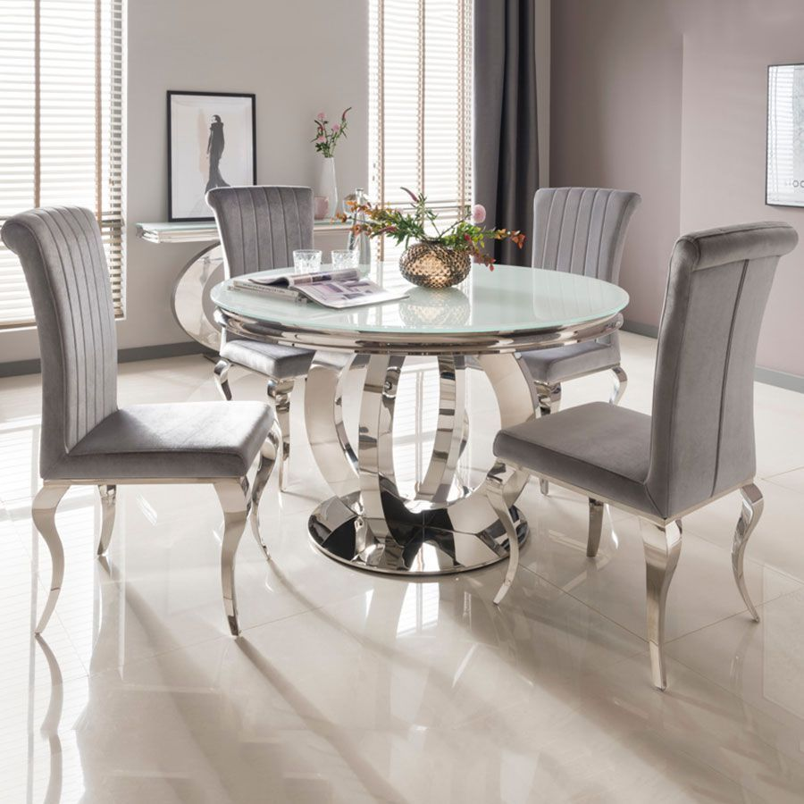 Ohio 130cm white glass chrome round dining table 6 nicole dining chairs imaginex