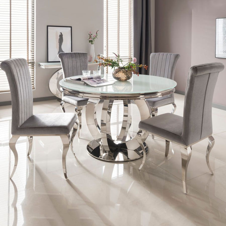 Ohio 130cm White Glass & Chrome Round Dining Table + 4 Nicole Dining Chairs